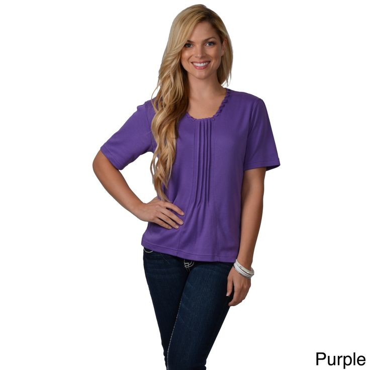 Nicole Ricci Women's Scoop-Neckline Pleated-Front Top | Overstock™ Shopping - Top Rated Nicole Ricci Short Sleeve Shirts