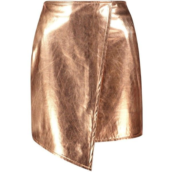 Boohoo Brea Asymetric Metallic Leather Look Mini Skirt | Boohoo ($30) ❤ liked on Polyvore featuring skirts, mini skirts, fake leather skirt, faux leather skirt, mini skirt, vegan leather skirt and short skirts