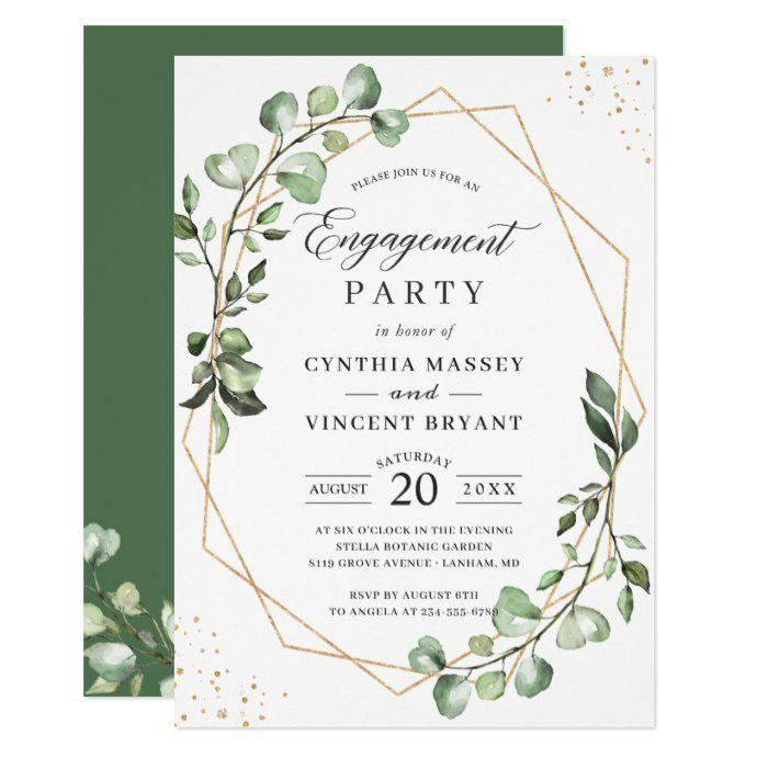 Eucalyptus Leaves Gold Geometric Engagement Party Invitation Zazzle Com Geometric Bridal Shower Floral Bridal Shower Invitations Engagement Party Invitations