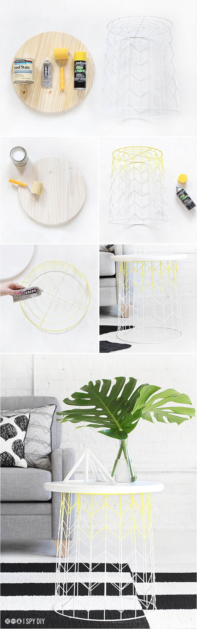 turn a wire basket into a stylish side table (add paint or just leave it as is)