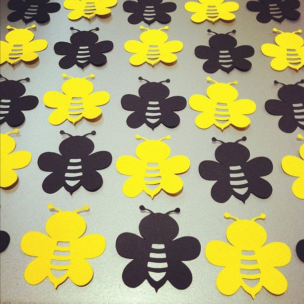 "40 Bumble Bee Die Cuts - 2"" - Black  Yellow  - confetti, card making, scrapbooking, table scatter, DIY craft projects. $3.50, via Etsy."