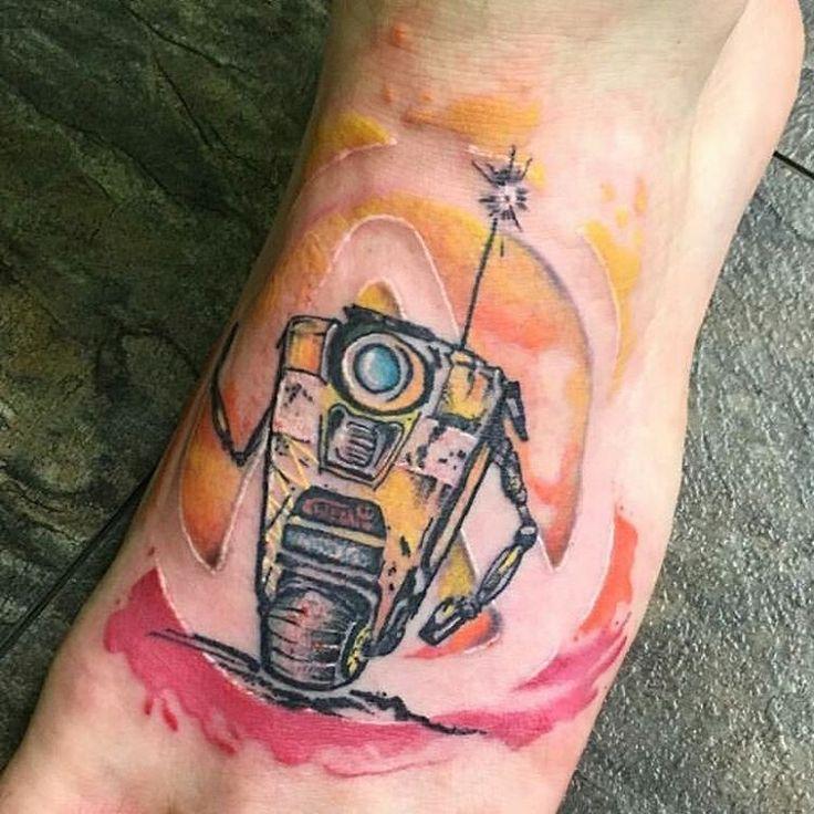 """""""Claptrap tattoo by @hotpantsromance #borderlands #borderlandstattoo #videogametattoo #claptrap  Thanks again Lauren!!! """""""