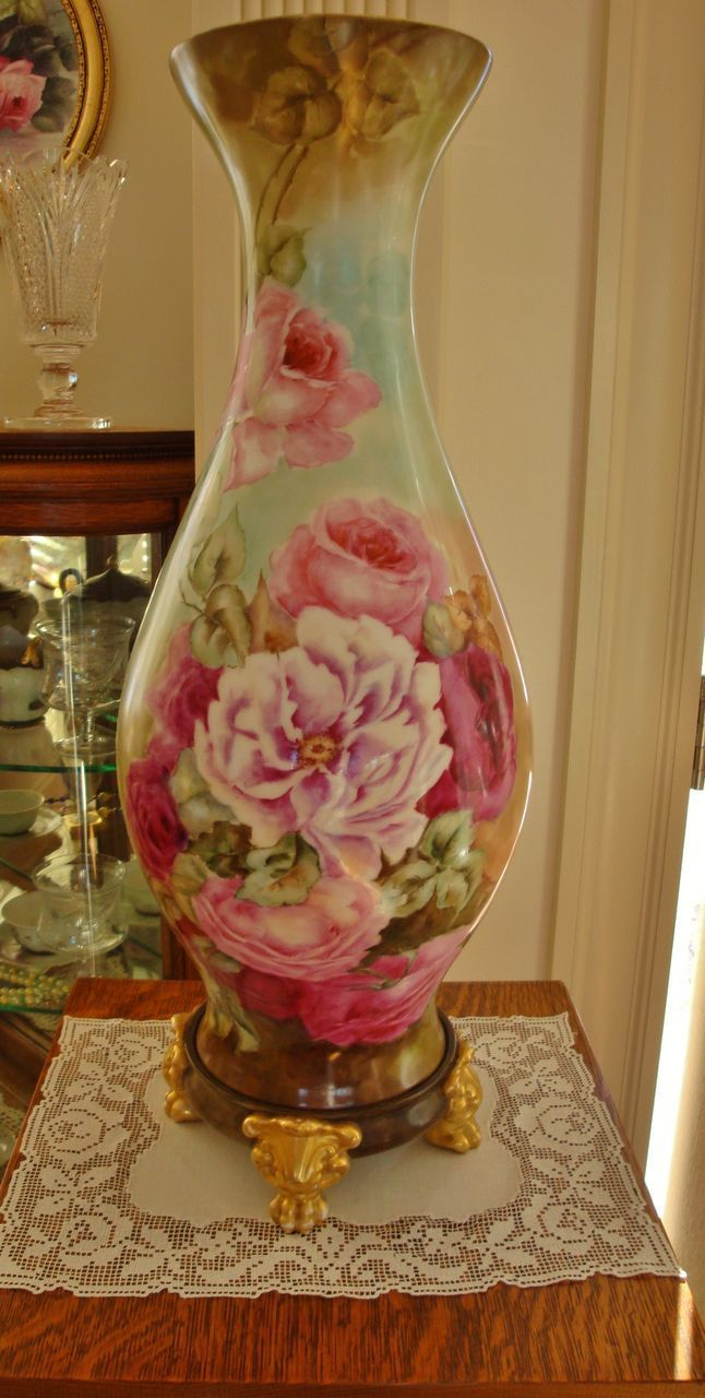 Huge Antique Limoges France Gorgeous Vase with