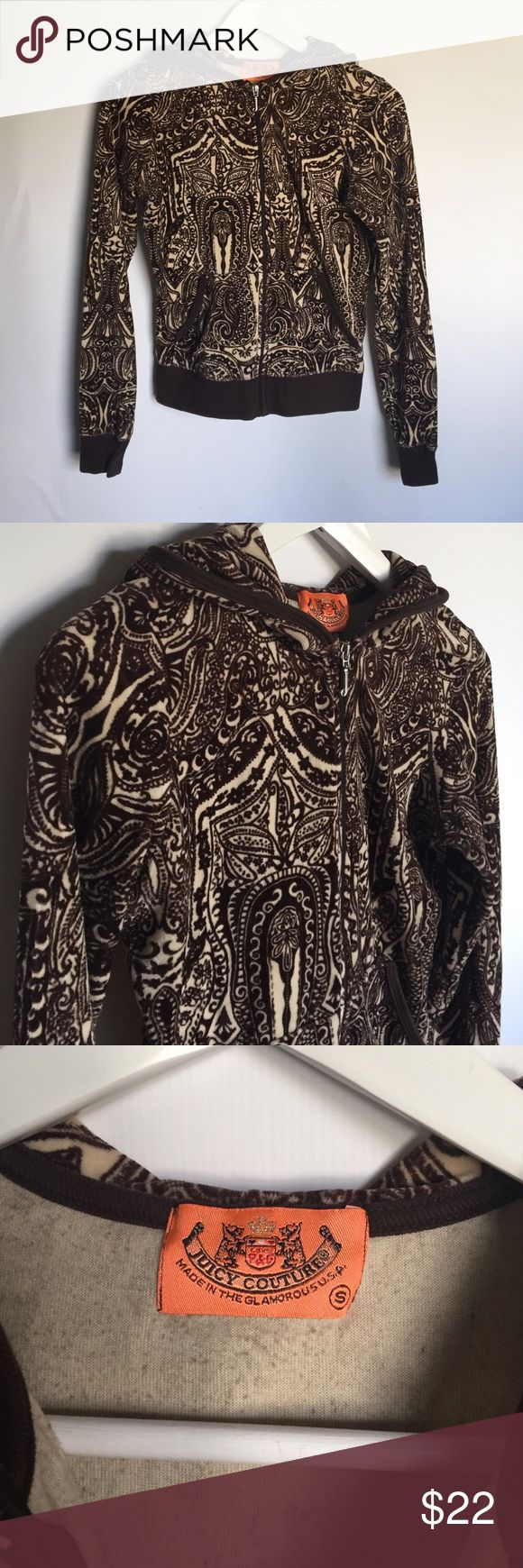 "Juicy Couture Brown and Beige Zip Up Hoodie sz S You are viewing a Juicy Couture dark brown and beige zip up hoodie track jacket in a size small. It features a beautiful paisley pattern and a silver ""J"" zip up. It is in great used condition with no stains or holes. Juicy Couture Tops Sweatshirts & Hoodies"