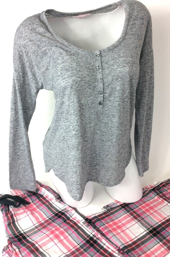 Victoria's Secret Pajamas The Lounge PJ XS Plaid Henley Top Flannel Pant NWT #VictoriasSecret #PAJAMASET
