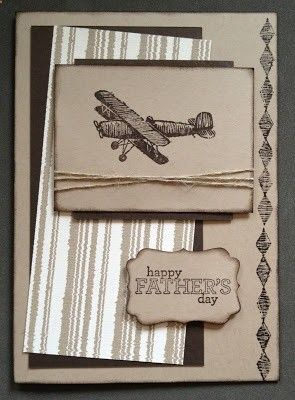Stampin' Up! Father's Day card using Plane  Simple and Delightful Dozen stamps and Parker's Pattern DSP.