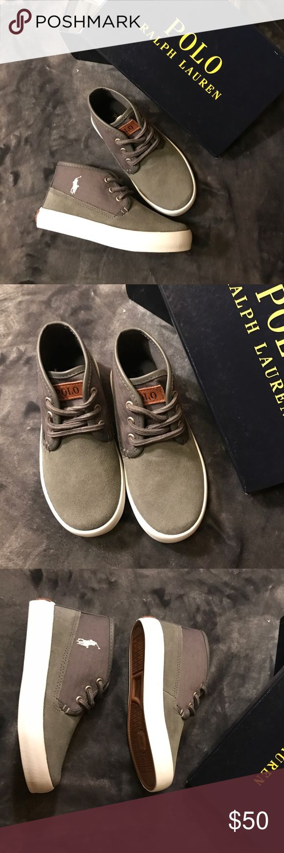 ONE DAY SALEPolo Ralph Lauren suede sneakers Gorgeous. Grey suede. Very comfortable. Great spring/ summer shoes.  Color grey. Model: Waylon mid. Size toddler US 10 UK 9.5 EUR 26.5 CM 16 Polo by Ralph Lauren Shoes Sneakers