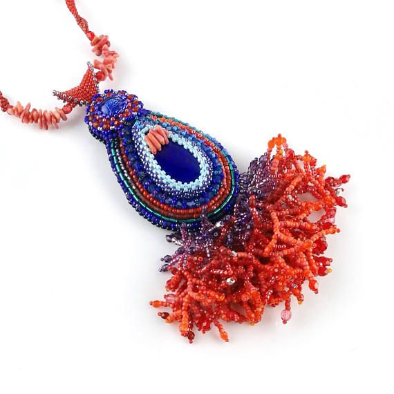Statement Seed bead Coral necklace, Bead embroidery Sea pendant necklace, Beadwoven coral branches, Marine Bead woven Beadwork jewelry OOAK