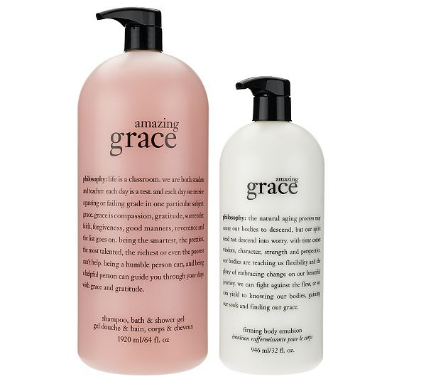 What is it: A mega-size amazing grace trio from philosophy that includes shampoo, bath, and shower gel, as well as a body emulsion. Page 1 QVC.com