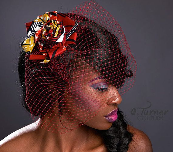 Africain Print Fascinator - bijou de cheveux mariage Ghana - coiffure africaine - Ankara Hat - voile coloré - African Bird Cage voile rouge