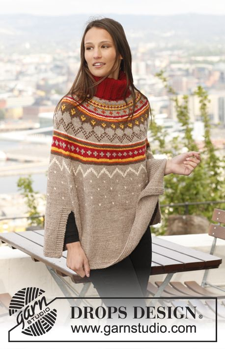 "Knitted DROPS poncho with pattern in ""Nepal"". Size: S - XXXL. ~ DROPS Design"