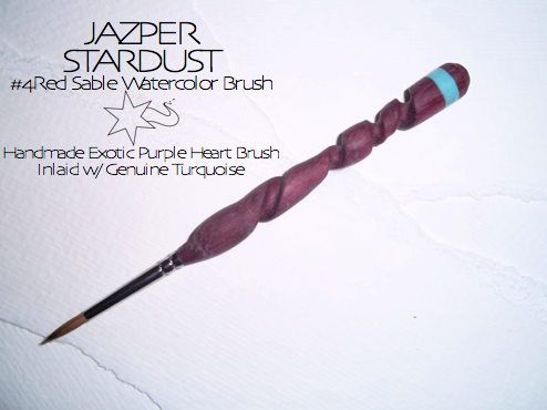 Hand Carved Watercolor Brush EXOTIC PURPLE HEART inlaid with Genuine Turquoise Stone #4 by JazperStardust on Etsy
