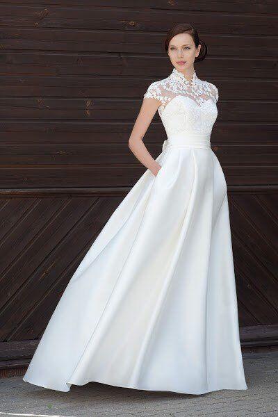 modern wedding dress modern wedding simple elegant lace bolero boho minimalist wedding gown  ivory w