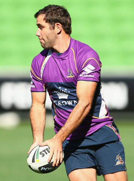 Cameron Smith of the Storm controls the ball during a Melbourne Storm #NRL training session at AMMI Park on May 1, 2013 in Melbourne, Australia.