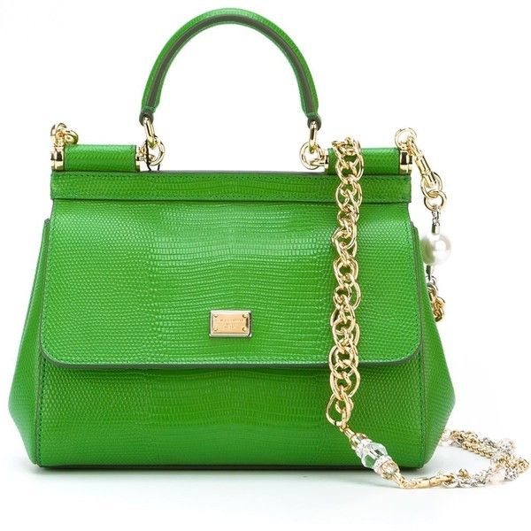 Dolce & Gabbana Small Sicily Tote (£1,595) ❤ liked on Polyvore featuring bags, handbags, tote bags, green, green leather tote bag, green tote bag, green leather purse, green leather tote and leather tote bags
