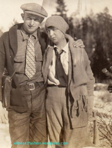 1930s snow clothing. Jonnie and Ollie, Feb. 1931. Neckties required.