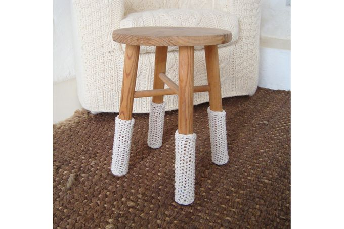 chunky knit cream leg warmers for chairs by biscuitscout