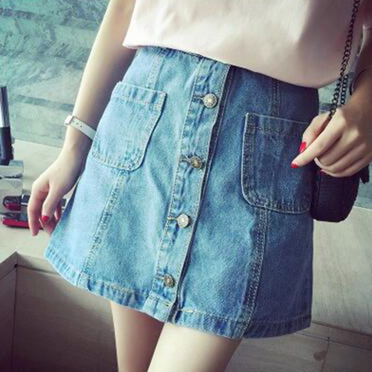 Find More Skirts Information about 2016 Summer New  Version Of Relaxed Casual High waist Denim Skirts A Single Breasted,High Quality skirt mini,China skirt sock Suppliers, Cheap skirt pleated from Comme t'y es belle! on Aliexpress.com