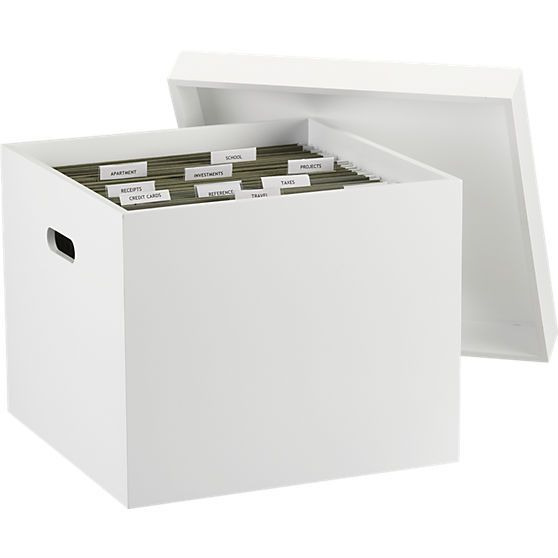 "white file box in office accessories | CB2 | 15""Wx15""Dx11.5""H 
