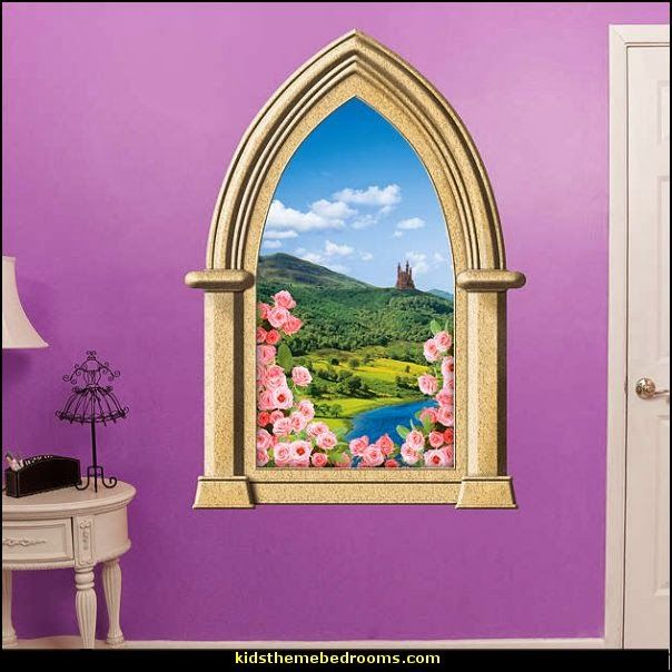 Fairy tale castle instant window wall decal mural fathead for Fairy tale wall mural