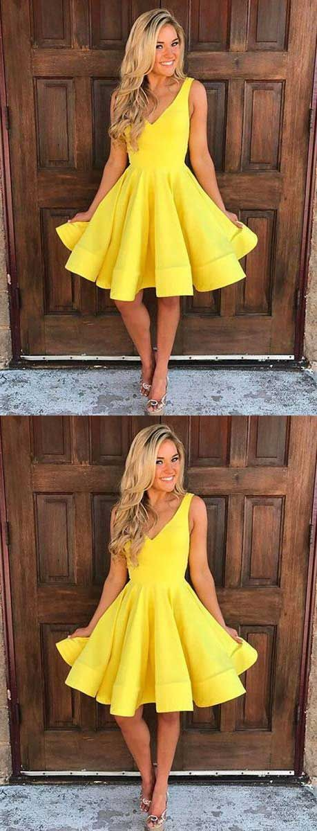 yellow party dress,short homecoming dress,simple homecoming dresses,short prom dress,homecoming,fashion dresses for homecoming