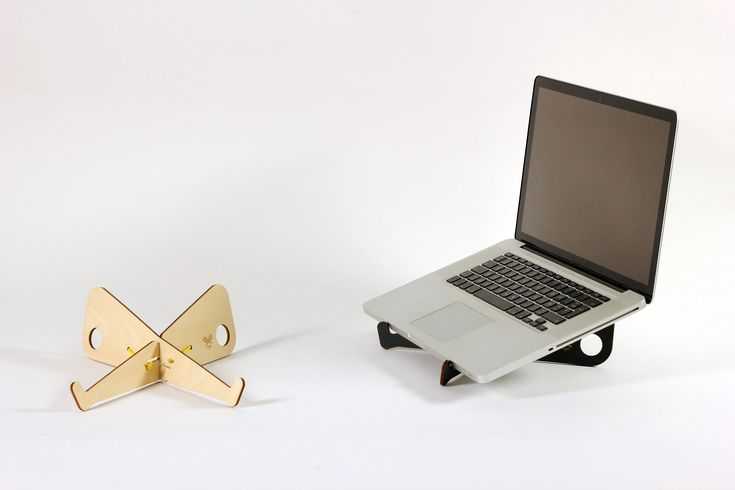 CIZOR laptop stand design by Studio Lo laser cut in plywood with TheFabFamily