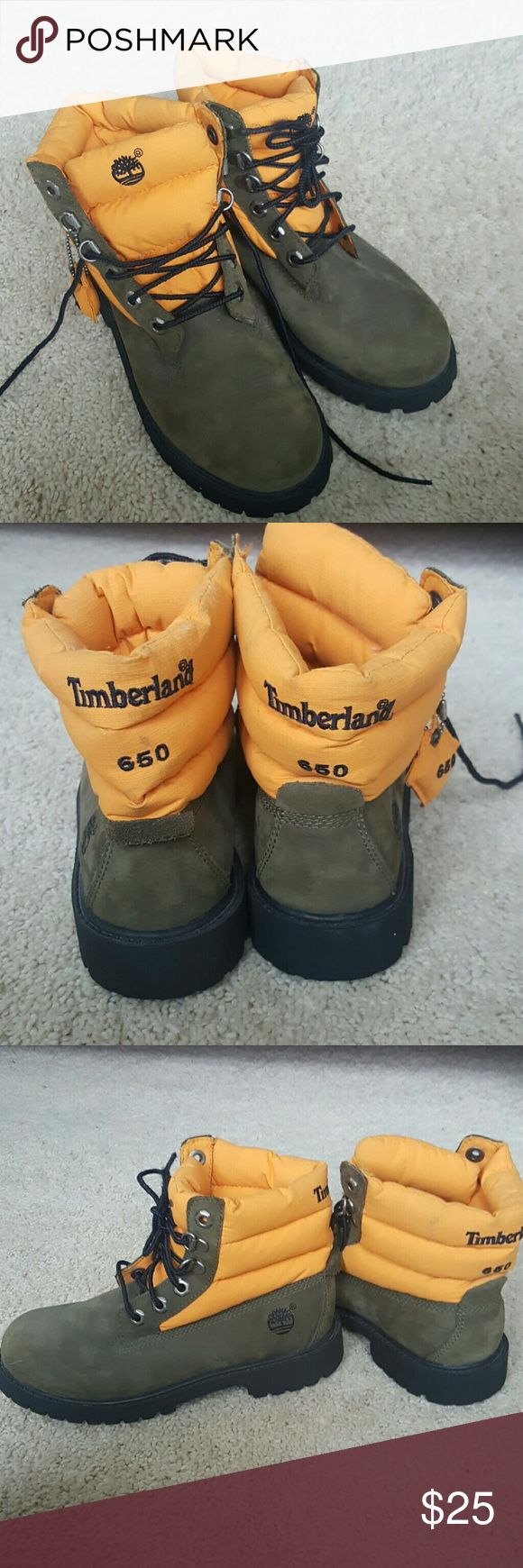Boys timberland boots Olive green and orange bus timberland boots. Orange portion is like down jacket material. Great condition barely worn. Timberland Shoes Boots