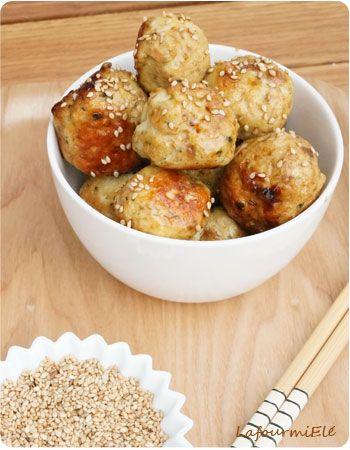 recette de boulettes au poulet basilic et sésame