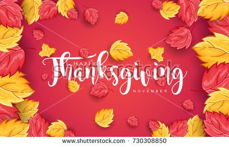Beautiful Happy Thanksgiving Day Typography Text and Leaves in Red Background. For Poster, Invitation Card and Greeting Card. Vector Illustration