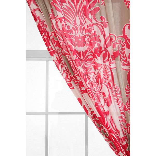 Vine Flourish Curtain (25 CAD) ❤ liked on Polyvore featuring home, home decor, window treatments, curtains, pink, flowered curtains, pole pocket curtains, rod pocket draperies, floral curtains and pink floral curtains