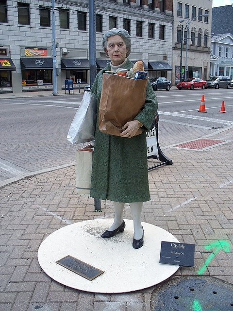 Woman with groceries Sculpture in downtown...... Dayton, Ohio.