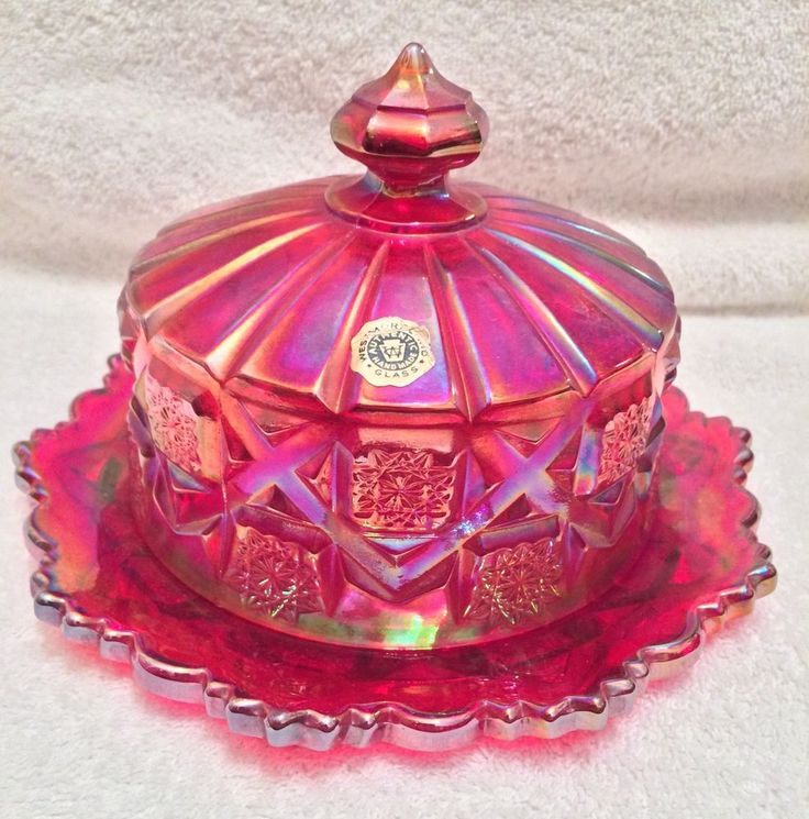 Vintage Westmoreland Ruby Red Carnival Glass Butter Dish- Old Checker Quilt #Westmoreland