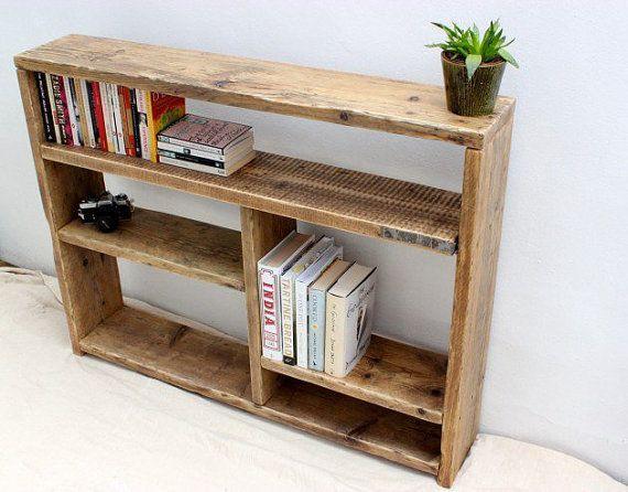 Petit Bois Recupere Bibliotheque Meubles De Salon Meubles Rustiques Meubles En Bois De La Maison Bibli In 2020 Bookcase Diy Reclaimed Wood Bookcase Rustic Bookcase