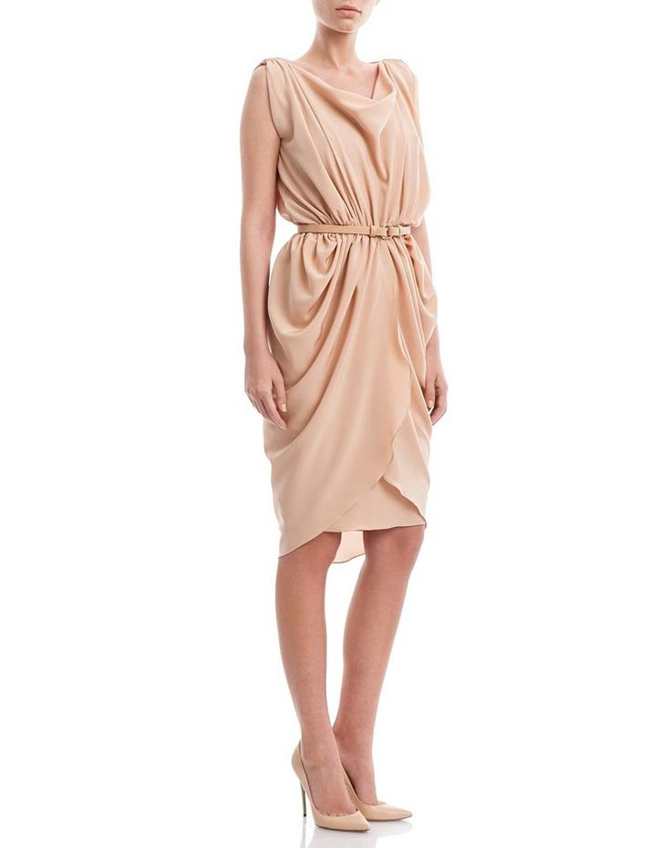 Peach beige silk-crepe draped dress