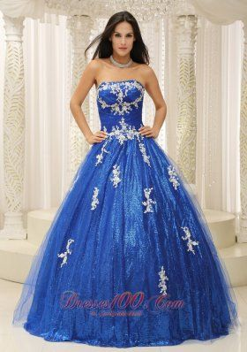 Appliques Paillette Royal Blue Beading Quinceanera Dress