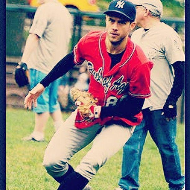 Aaron Tveit playing baseball...Perfection <3