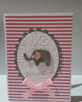 Baby Card with cut-out elephant.  Custom color to your specification.
