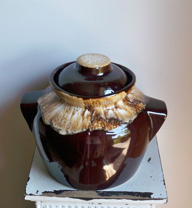 Vintage Roseville Robinson Ransbottom Brown Drip Bean Pot Casserole Dish EC!