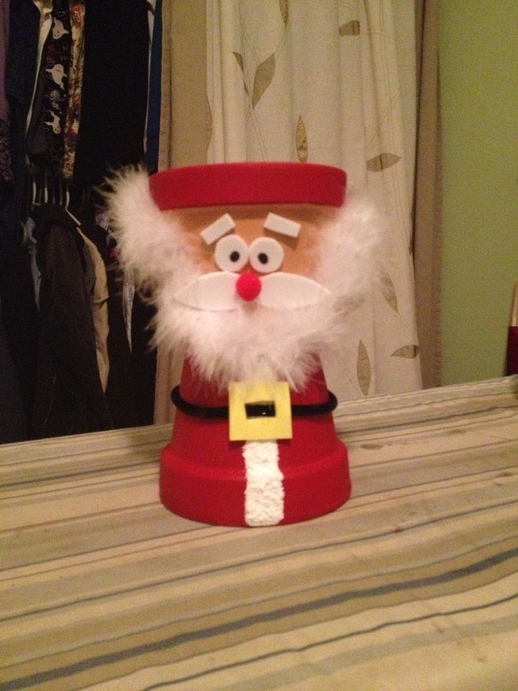 Clay pots make a cute santa you can put treats in his head in the