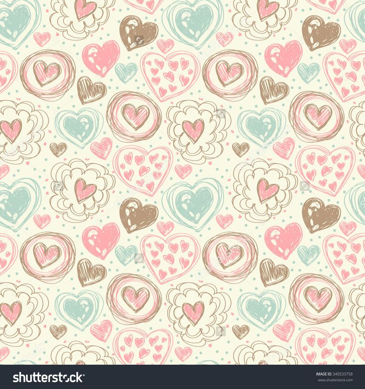 Seamless Pattern With Doodle Heart Icons For Valentines Day, Vector Illustration - 340533758 : Shutterstock