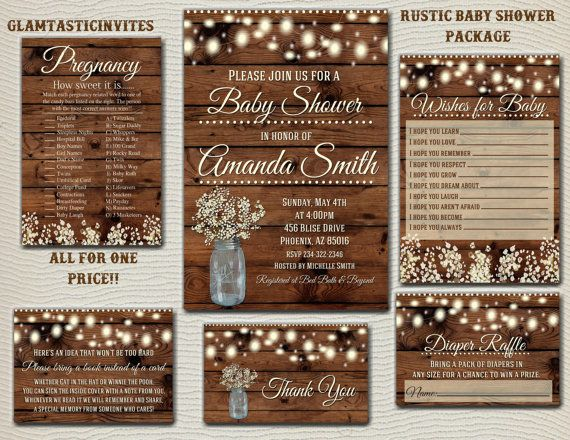 RUSTIC BABY SHOWER Invitation Flower Baby by GlamtasticInvites