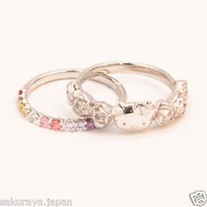 hello kitty engagement rings | Hello Kitty Silver Rainbow Ring Set Diamond Engagement Weddin Jewelry ...