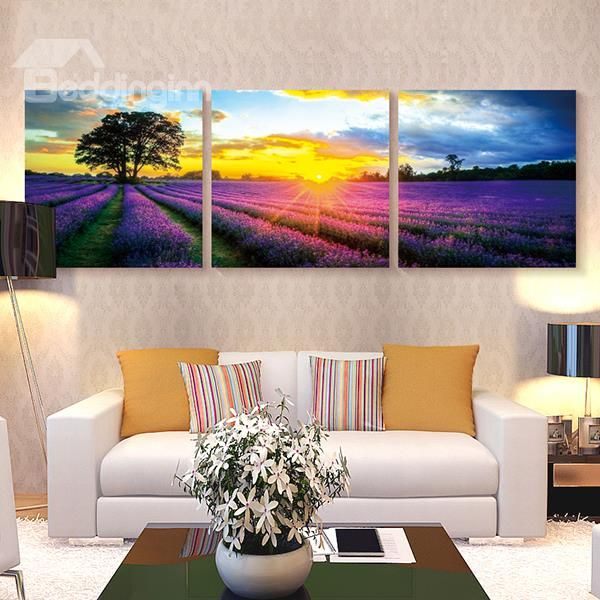 Lavender Field In Sunrise 3 Panel Wall Art Prints Living Room Home Decor Interior Design Pinterest