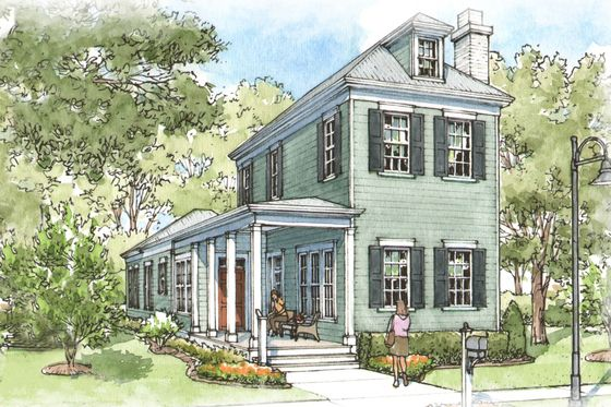 """Great Home for a Narrow Lot, House Plan 900-6,1656 Sq. Ft., Three Bedrooms,  Two-and-a-Half Baths, 23' Wide and 80' 10"""" Deep."""