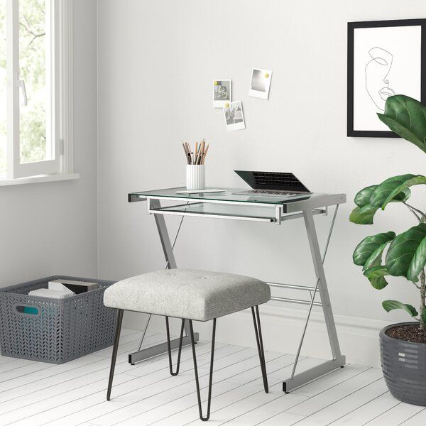 Modern Desktop Computer Desk Clear Glass Table Small Workstation Home Office New Glass Computer Desks Computer Desk Design Glass Desk