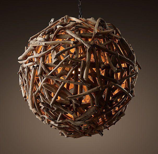Salvaged Driftwood Globe Pendant 44 Quot Restoration