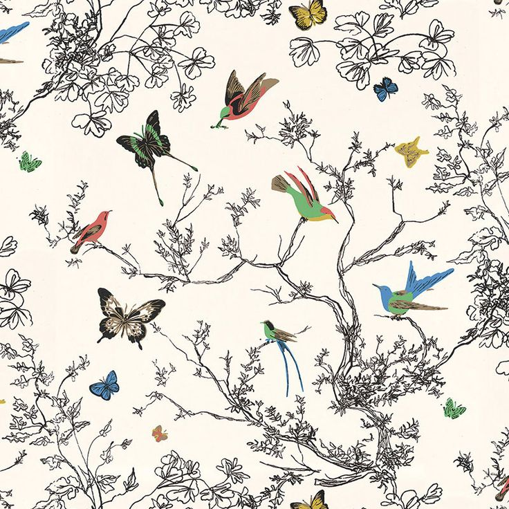Birds & Butterflies 2704420 Wallpaper for Powder Room