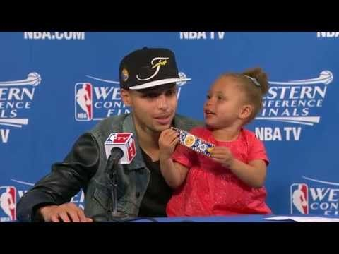 """Warrior's Stephen Curry -- Before sitting down, you hear a reporter ask, """"Are we going to do this again?"""" Yes, ma'am, we are. He's a working parent, who shows that being a father is a priority. The court is his office; the circus that surrounds it is a family affair. Go Stephen, you've made us a fan."""