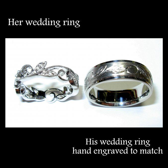 Engraving to match wedding bands! Beautiful, I love how they're different (feminine and masculine) but still match each other. :)