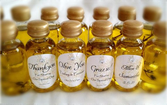 This listing is for 50 Elegant mini Olive Oil Favors infused with thyme sprig in each little bottle! Each glass bottle label is embossed with the design preference of your choice and dressed up with a tiny gem. Bottles are 3 1/4 tall and contain 1 oz. of Extra Virgin Olive Oil w/one sprig of thyme Bottles are wax sealed to prevent leakage and ensure freshness Label choices are: Olive You - Today & Forever Thank You - For Sharing Our Special Day Grazie! - For Sharing Our Special Day…